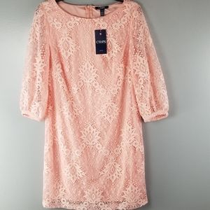 NWT CHAPS 3/4 Sleeve Pink/Coral Embroidery dress